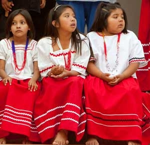 American Indian girls waiting to dance at festival